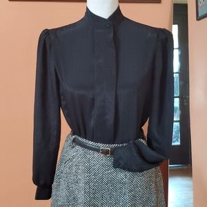1980s High Collared Black Hidden Button Blouse